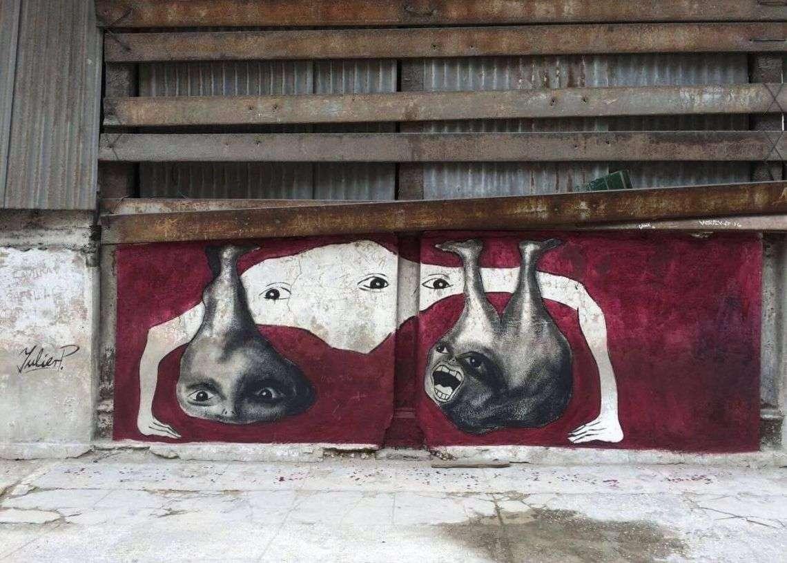 Intervención del artista urbano Yulier P. Foto: Yulier P.