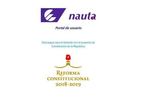 Sitio de descarga gratis del tabloide con el Proyecto de Constitución de Cuba, en el portal de usuario del servicio nauta de Etecsa. Foto: ACN.