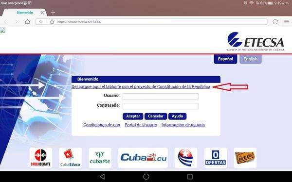 Sitio de descarga gratis del tabloide con el Proyecto de Constitución de Cuba, en el portal de autenticación del servicio nauta de Etecsa. Infografía: ACN.