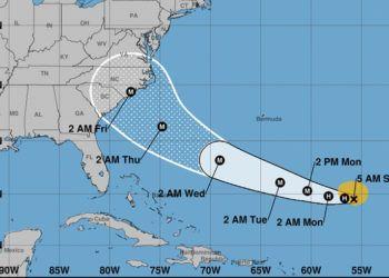 Cono de trayectoria pronosticada para le tormenta Florence. Gráfico: National Hurricane Center.