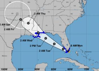 Cono de movimiento de la tormenta tropical Gordon. Infografía: nhc.noaa.gov