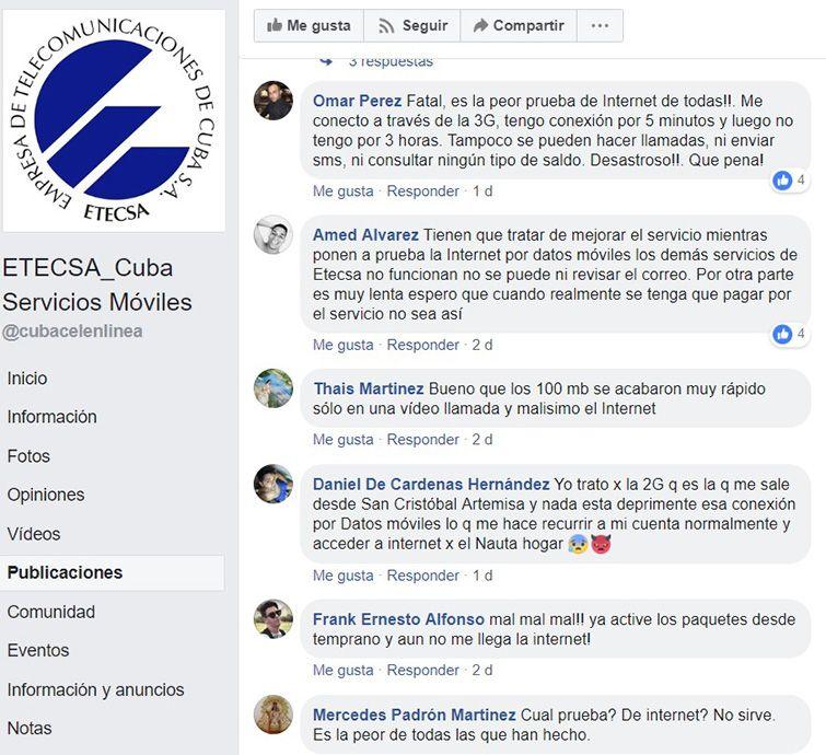 Print screen de la entrada habilitada por Etecsa para recoger opiniones de sus usuarios sobre la prueba de internet en los teléfonos móviles en Cuba.