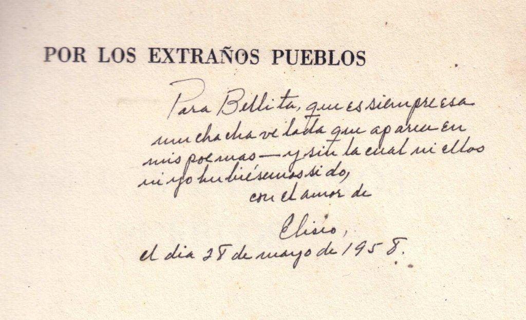 Dedicatoria de Eliseo Diego a su esposa, Bella García-Marruz. Foto: Archivo familiar.