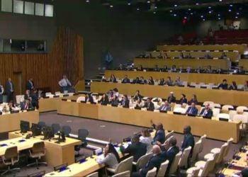 Acto en la ONU organizado este 16 de octubre de 2018 por EE.UU. y boicoteado por diplomáticos cubanos. Foto: @GlezGaliano / Twitter.