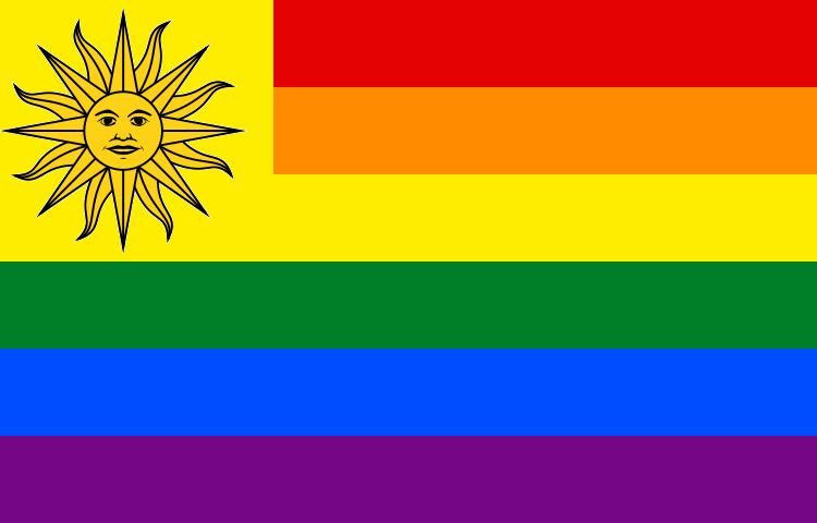 Bandera de Uruguay con los colores simbólicos de la comunidad LGTBI.