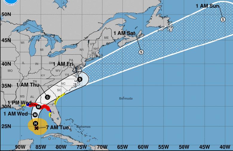 Cono de trayectoria del huracán Michael, en la mañana del 9 de octubre de 2018. Fuente: nhc.noaa.gov