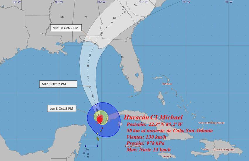Huracán Michael a las 6:00 PM (hora de Cuba) de este 8 de octubre de 2018. Infografía: ISMET.