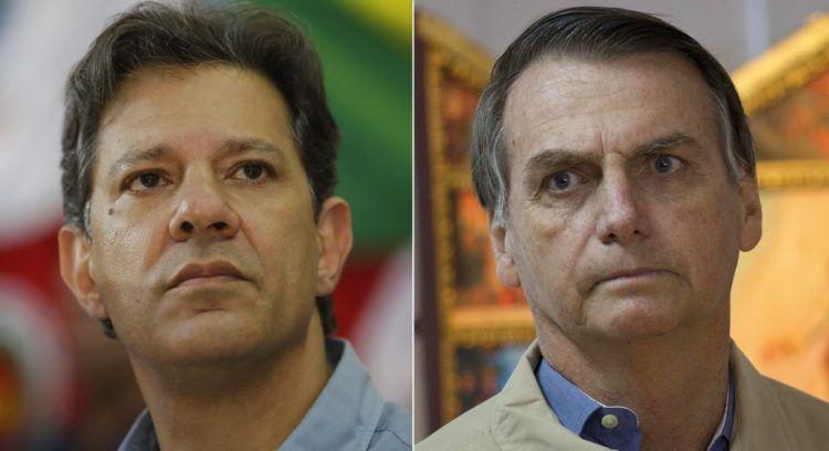 Los candidatos a la presidencia de Brasil Fernando Haddad (izquierda), del Partido de los Trabajadores; y su rival en el balotaje y favorito en las encuestas, Jair Bolsonaro. Foto: Andre Penner, Silvia Izquierdo / AP.
