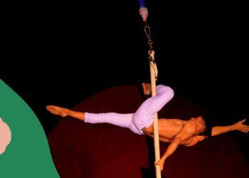 Hermes Pompa en el número de Pole Aéreo. Foto: Cartel promocional del Festival  Iberoamericano de Circo (FIRCO).