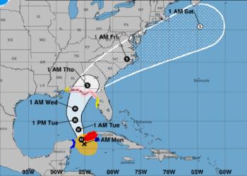 Cono de trayectoria pronosticada para la tormenta tropical Michael. Infografía: nhc.noaa.gov