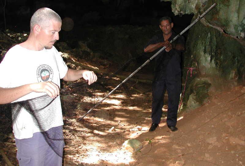 Abel Hernández en una de las cuevas montando una red de niebla junto a otro integrante del grupo Samá. Foto: Escambray / Cortesía del Grupo Samá.