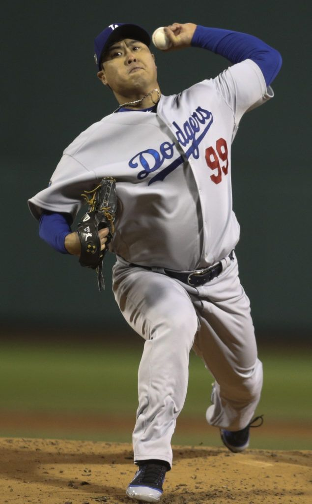 Hyun-Jin Ryu hizo un buen trabajo, pero en el quinto fue retirado de la lomita.  (AP Foto/Maddie Meyer, Pool)