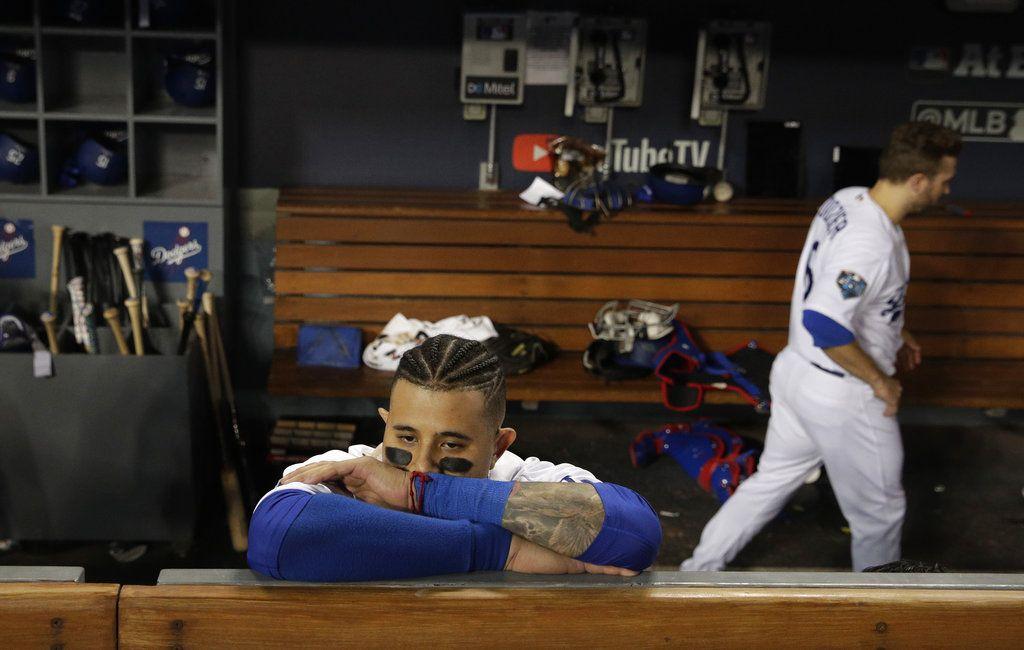Manny Machado, de los Dodgers de Los Ángeles, tras la derrota en la Serie Mundial ante los Medias Rojas de Boston, el domingo 28 de octubre de 2018. Foto: Jae C. Hong / AP.