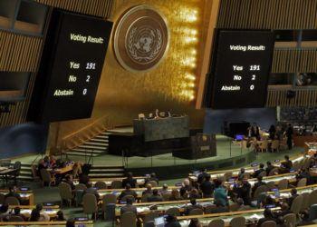 Votación en la Asamblea General de la ONU en 2017 de la resolución cubana contra el embargo. Foto: TV Yumurí.