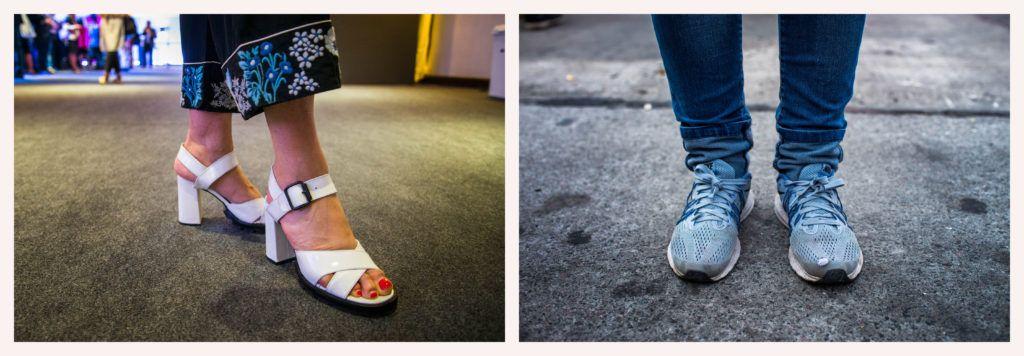 Los zapatos de la cumbre y de la contra cumbre. Fotos: Irina Dambrauskas.