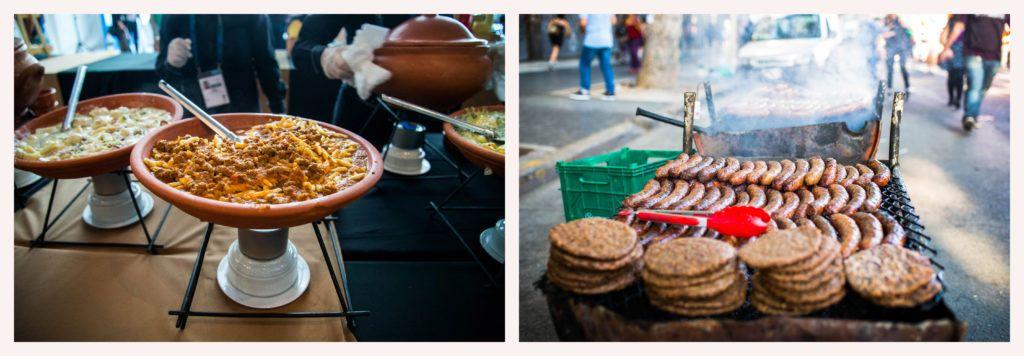 """El catering de la cumbre y los """"chori"""" de las marchas. Fotos: Irina Dambrauskas."""