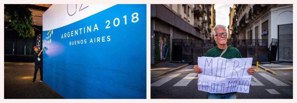 Los carteles del interior y los pedidos de dimisión de Mauricio Macri en el exterior. Fotos: Irina Dambrauskas.