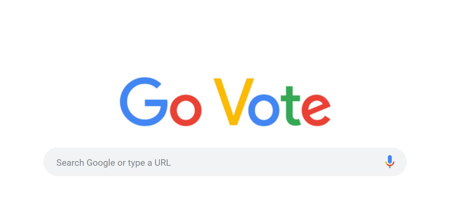 """El doodle de Google amaneció hoy en Estados Unidos con un """"Go Vote"""" en colores, que ofrece los lugares cercanos para votar y otras informaciones útiles a los electores, como los documentos que deben llevar."""