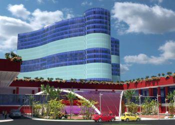 Diseño del hotel de lujo que se construirá en Santiago de Cuba. Foto: CubaTV.