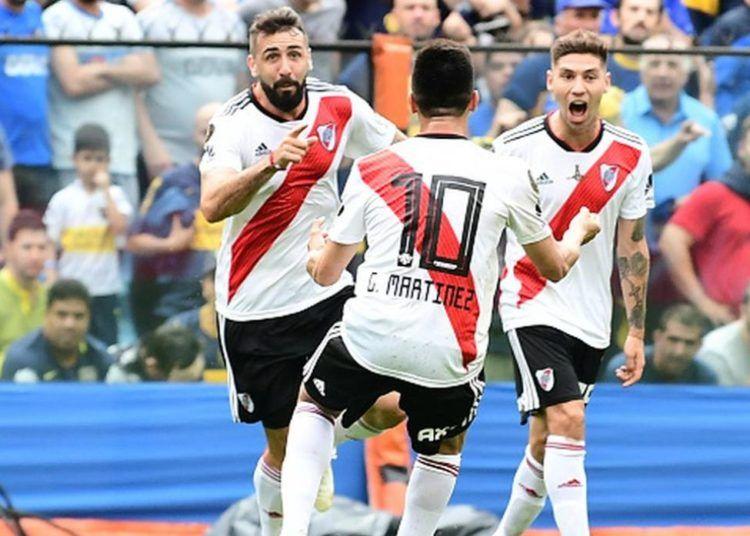 Jugadores de River Plate celebran uno de sus goles ante su rival Boca Juniors, en el partido de ida de la Copa Libertadores, el domingo 11 de noviembre de 2018. Foto: depor.com