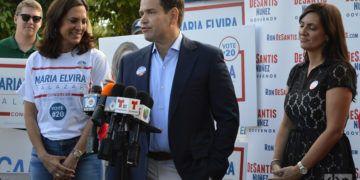 Marco Rubio habla a la prensa en un meeting de apoyo a María Elvira Salazar, candidata republicana al Congreso por el distrito 27. Foto; Marita Pérez Díaz.