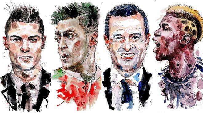 Varias de las figuras más influyentes del fútbol moderno han sido señaladas por los archivos de Football Leaks. (Ilustraciones Raúl Arias/El Mundo)
