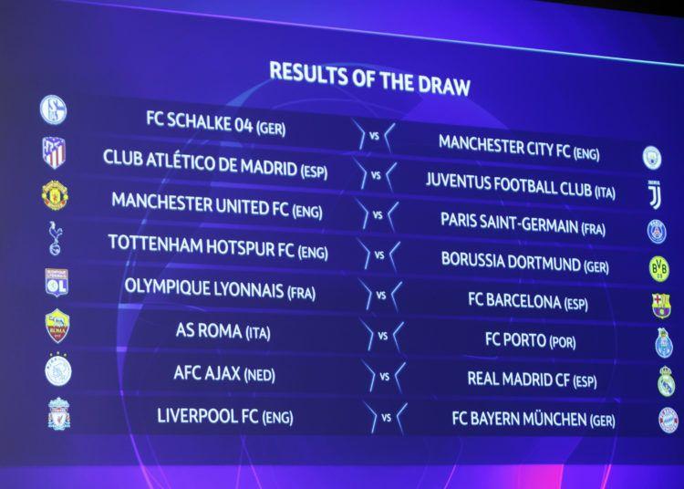 Los resultados del sorteo de los octavos de final de la Liga de Campeones son exhibidos en un panel electrónico en la sede de la UEFA en Nyon, Suiza, el lunes 17 de diciembre de 2018. (Salvatore Di Nolfi/Keystone via AP)