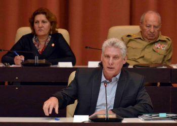El presidente cubano, Miguel Díaz-Canel, en las sesiones de la Asamblea Nacional de Cuba en diciembre de 2018. Foto: @AsambleaCuba
