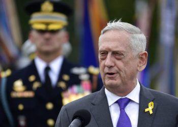 El secretario de Defensa Jim Mattis durante una ceremonia de reconocimiento a los prisioneros de guerra y a los soldados perdidos en acción, en el Pentágono, en Washington, el 21 de septiembre de 2018. Foto: Susan Walsh / AP.