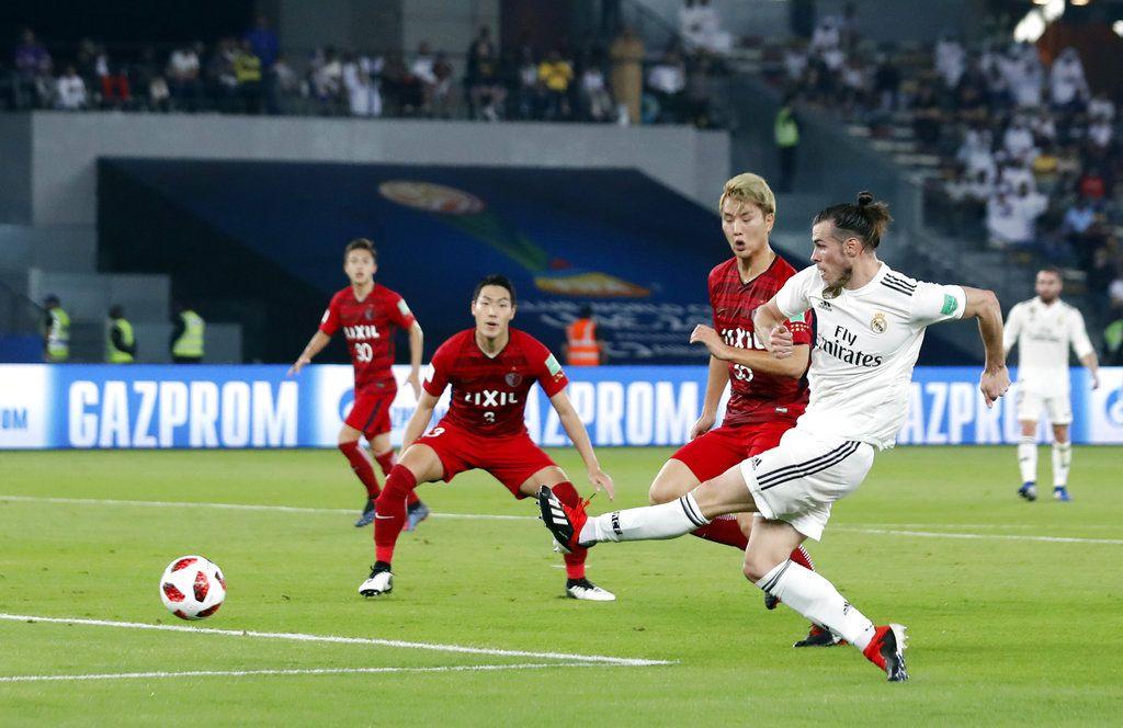 Gareth Bale (derecha) anota el primer gol del Real Madrid durante la semifinal ante Kashima Antlers en el Mundial de Clubes en Abu Dabi, Emiratos Árabes Unidos, el miércoles 19 de diciembre de 2018. Foto: Hassan Ammar / AP.