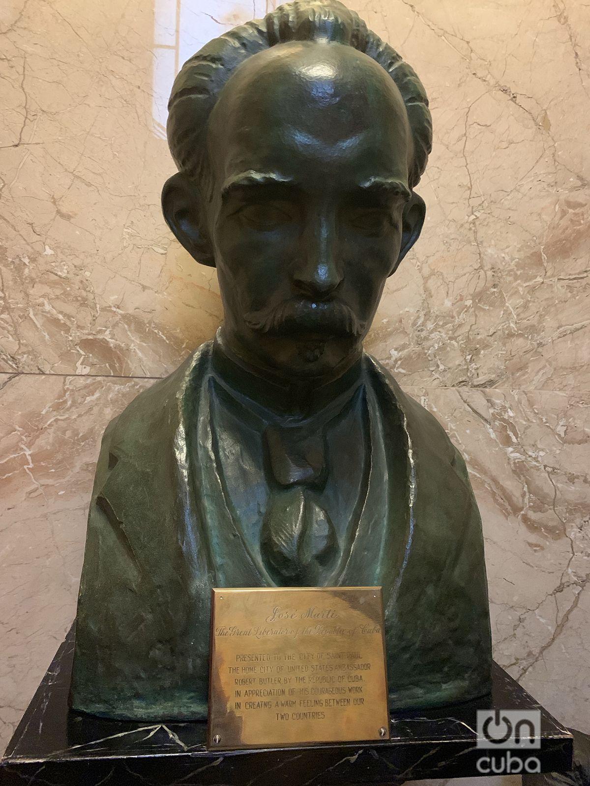 Busto de Martí donado por Cuba a la ciudad de Saint Paul. Foto: Sixela Ametller.