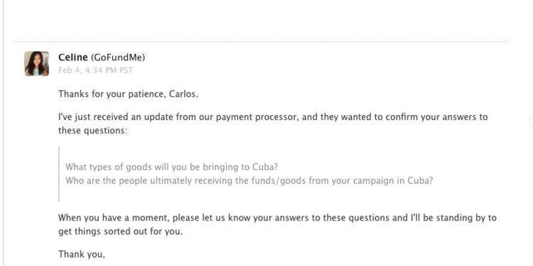 Captura de pantalla de un email de GoFundme para Carlos Lazo.