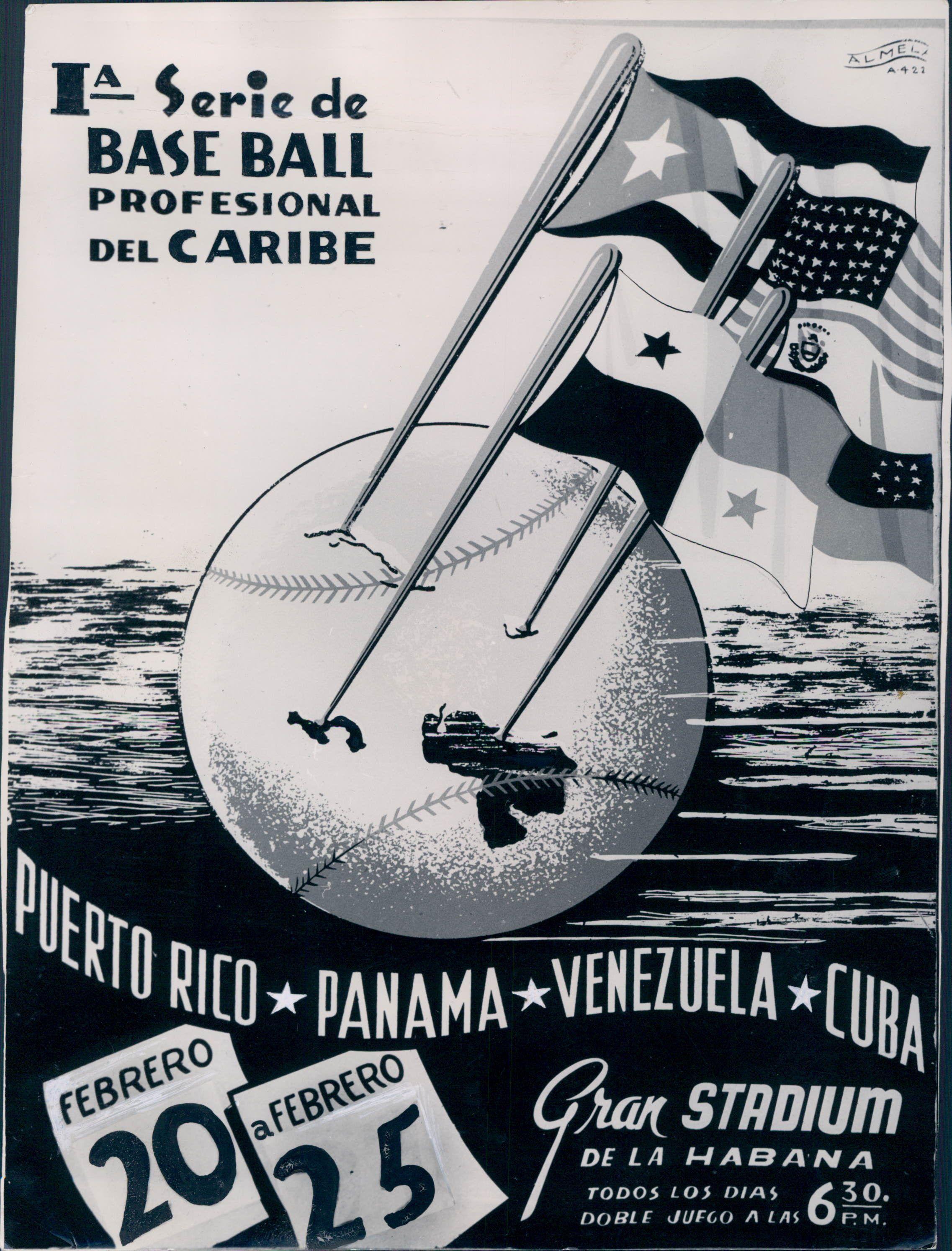 Cartel de la primera edición de la Serie del Caribe en 1949. Panamá, una de las naciones pioneras. Archivo