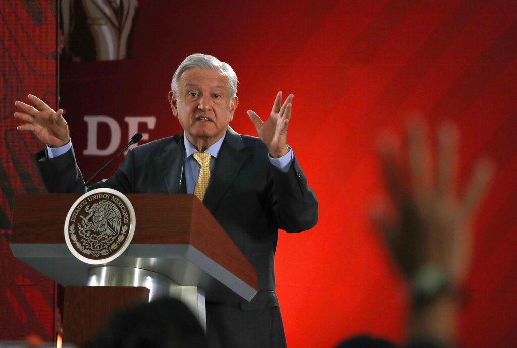 El presidente mexicano, Andrés Manuel López Obrador, durante una conferencia de prensa en el Palacio Nacional en la Ciudad de México, el 8 de marzo del 2019. Foto: Marco Ugarte / AP.