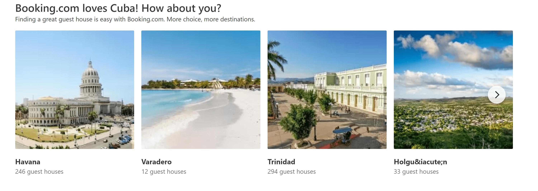 """Booking promociona las propiedades en Cuba y menciona que """"ama a Cuba""""."""