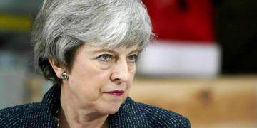 La primera ministra británica Theresa May habla en Grimsby, noreste de Inglaterra, el viernes 8 de marzo de 2019. Foto: Christopher Furlong / PA vía AP.