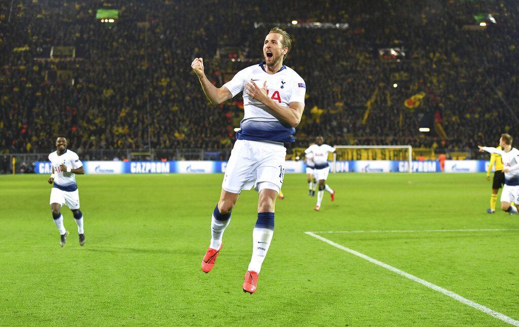 El atacante Harry Kane de Tottenham tras anotar el primer gol ante Borussia Dortmund en el partido por los octavos de final de la Liga de Campeones en Madrid, el martes 5 de marzo de 2019. (Bernd Thissen/dpa via AP)