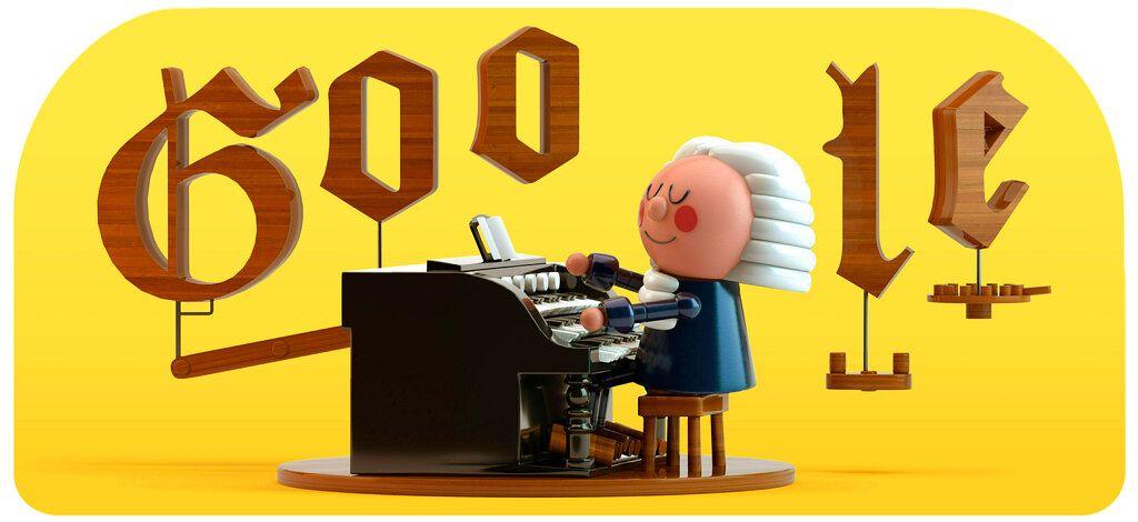 """El primer """"Doodle"""" de Google creado con inteligencia artificial en honor del compositor de música clásica Johann Sebastian Bach, visible el 21 de marzo del 2019. Foto suministrada por Google vía AP."""