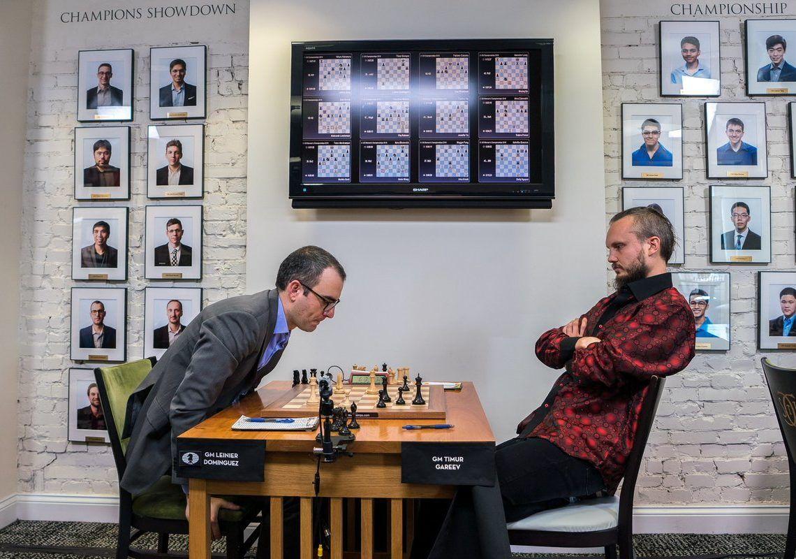 Leinier Domínguez lo intentó todo contra Timur Gareyev, pero al final terminó el duelo en tablas. Foto: US Chess