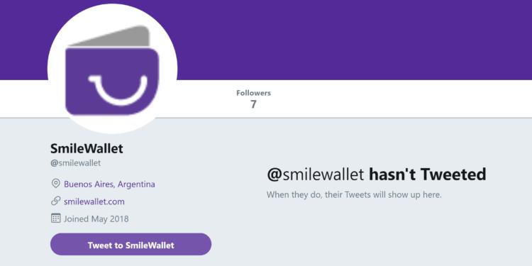 La página de Twitter de Smilewallet fue creada apenas en mayo de 2018 y no cuenta con ningún tweet.