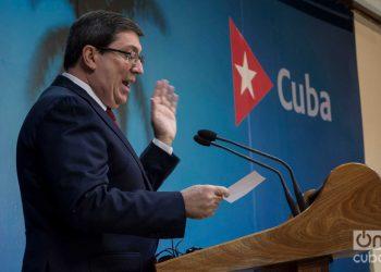 El ministro de Relaciones Exteriores de Cuba, Bruno Rodríguez Parrilla, en conferencia de prensa en La Habana. Foto: Otmaro Rodríguez/ ARCHIVO.