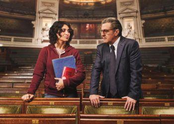 """Fragmento del cartel promocional del filme francés """"Una razón brillante"""", con los actores Camélia Jordana y Daniel Auteuil."""