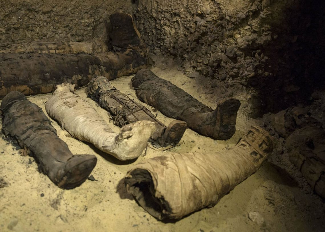 Momias halladas en una cámara funeraria en Egipto en febrero de 2019. Foto: Roger Anis / AP / Archivo.