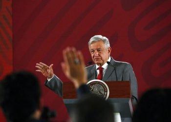 El presidente mexicano Andrés Manuel López Obrador (AMLO) durante su conferencia matutina diaria en el Palacio Nacional, en Ciudad de México, el viernes 31 de mayo de 2019. Foto: Ginnette Riquelme / AP.