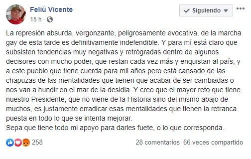Captura de pantalla del Facebook de Vicente Feliú.