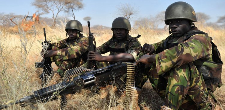 Soldados de las Fuerzas de Defensa de Kenia que prestan servicio en la Misión de la Unión Africana en Somalia (AMISOM). Foto: AMISOM/Abdisalan Omar.