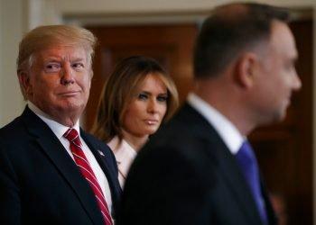 El residente Donald Trump y la primera dama Melania Trump asisten a una recepción con el presidente polaco Andrzej Duda en la Casa Blanca, Washington, 12 de junio de 2019. Foto: Jacquelyn Martin / AP.
