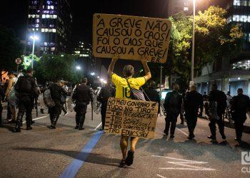 Huelga general contra el gobierno de Jair Bolsonaro en Brasil por su reforma de jubilaciones y pensiones. Foto: Nicolás Cabrera.