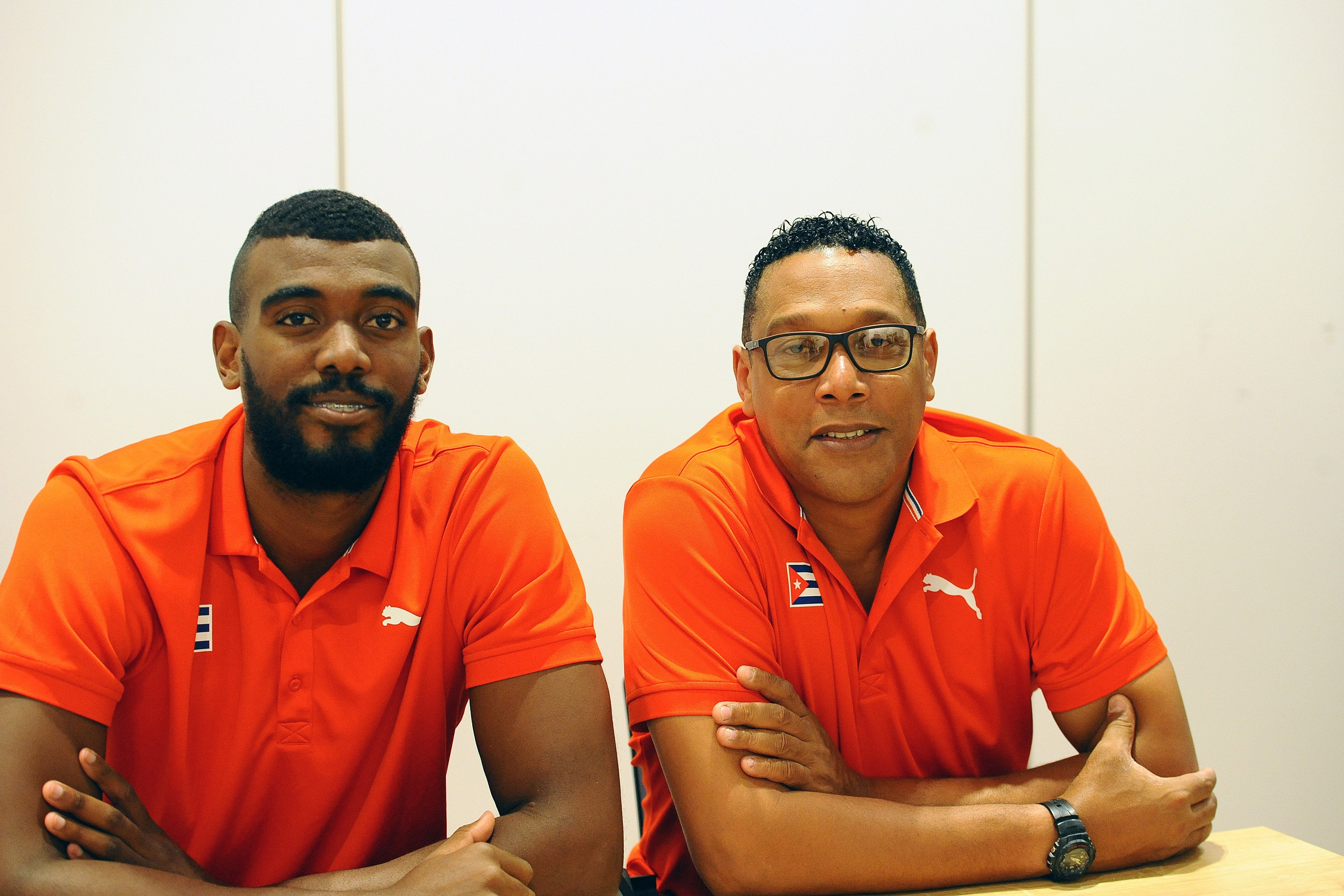 Livan Osoria Rodriguez (L) and Vives Coffigny Nicolas Ernesto of Cuba at Press conference at M Hotel, Ljubljana on 2 July 2019