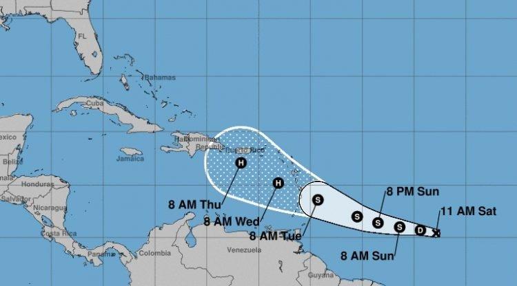 Cono de movimiento probable del organismo ciclónico tropical formado en la mañana del sábado 24 de agosto de 2019. Infografía: nhc.noaa.gov